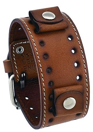 Brown Wide Leather Cuff Wrist Watch Band
