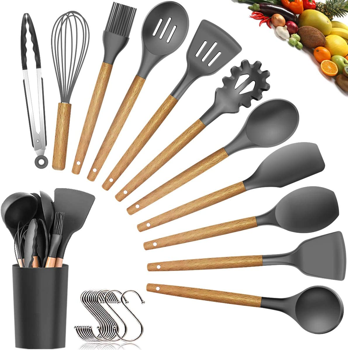 Silicone Cooking Utensils Kitchen Utensil Set - 11 Pieces Natural Wooden Handles Cooking Tools Turner Tongs Spatula Spoon for Nonstick Cookware