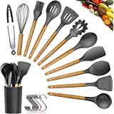 Silicone Cooking Utensils Kitchen Utensil Set - 11 Pieces Natural Wooden Handles Cooking Tools Turner Tongs Spatula Spoon for Nonstick Cookware - Best Kitchen Tools (BPA Free, Non Toxic)