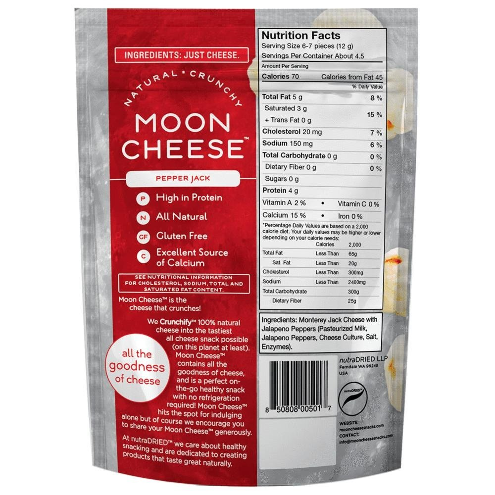 Moon Cheese, Pack of 12, Assortment (Cheddar, Gouda, Pepperjack, Sriracha), 100% Cheese and Gluten Free, 2 OZ Bags by Moon Cheese (Image #3)