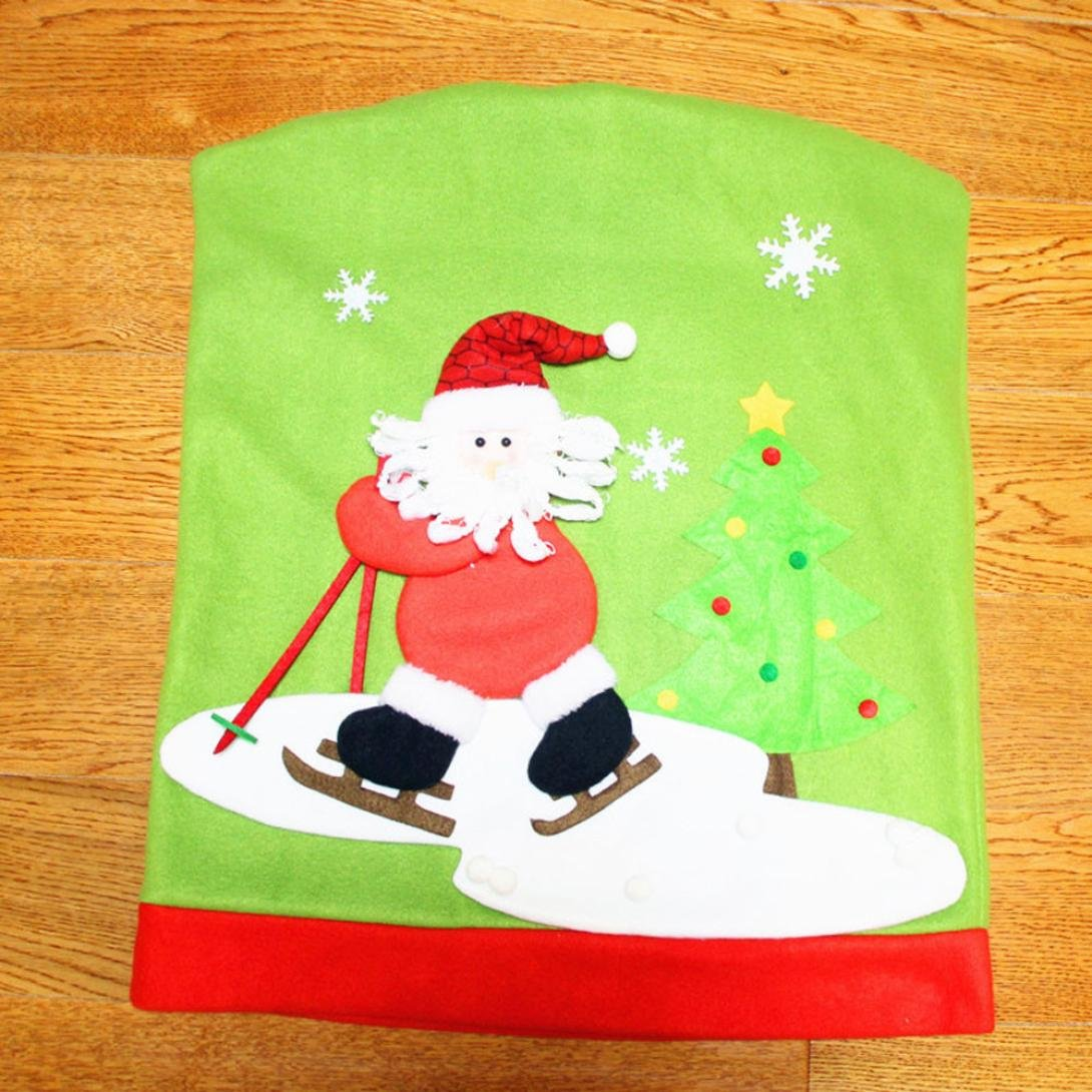 Amazon Gillberry Christmas Santa Claus Chair Back Cover Snowman Elk Ski Dinner Table Party Decor A Home Kitchen