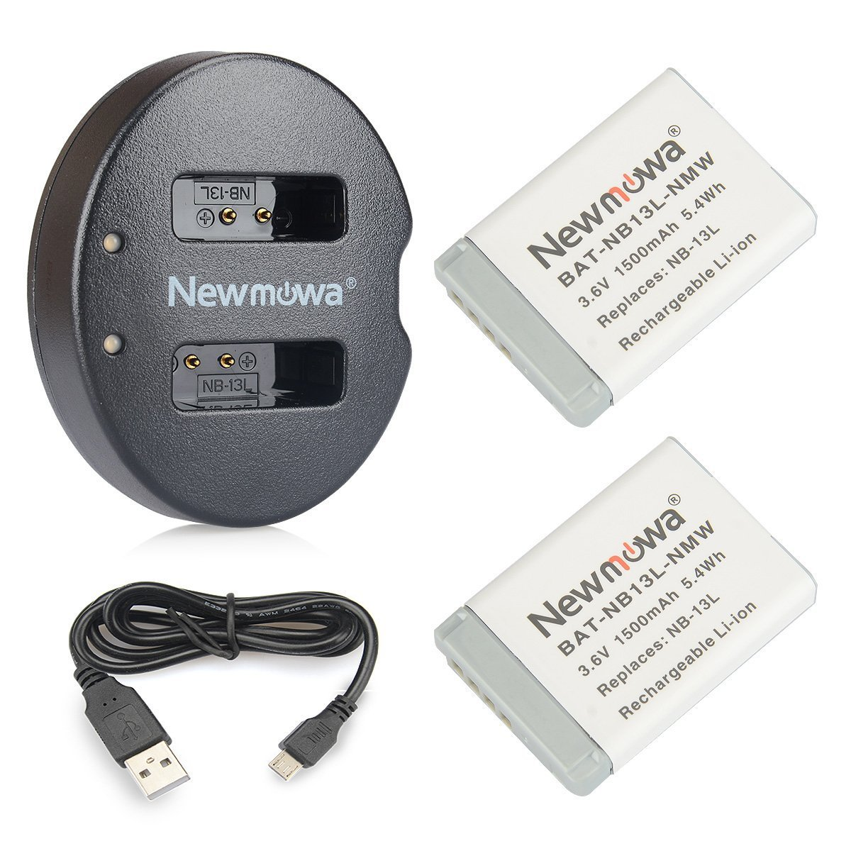 NB-13L Newmowa Battery (2 pack) and Dual USB Charger for Canon NB-13L and PowerShot G5X, G7X, G7 X Mark II, G9X, G9 X Mark II, G1 X Mark III, SX620 HS, SX720 HS, SX730 HS