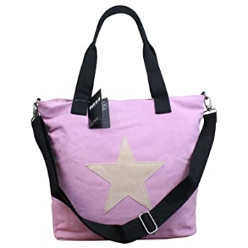 853549b7370c4 My-Musthave XXL Shopper Canvas-Tasche mit Stern Blogger Schultertasche  Canvas