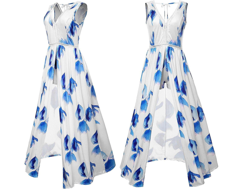 eb6040b3c91 Amazon.com  Romper Split Maxi Dresses Short jumpsuit Long dress White Blue L   Clothing