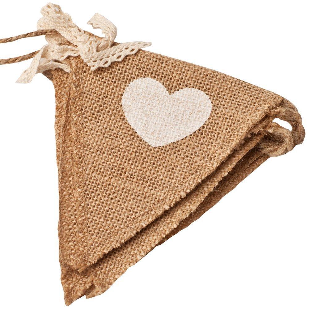 YEAH67886in tela di iuta con bandierine con cuore e pizzo archi wedding Decor party supplies