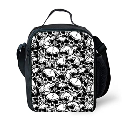 9442d4b52088 HUGS IDEA Skull Printed Cool Insulated Small Lunch Bag Lunchbox Travel  Pinic Food Cooler Bags for Women Men Adults Kids Girls Boys