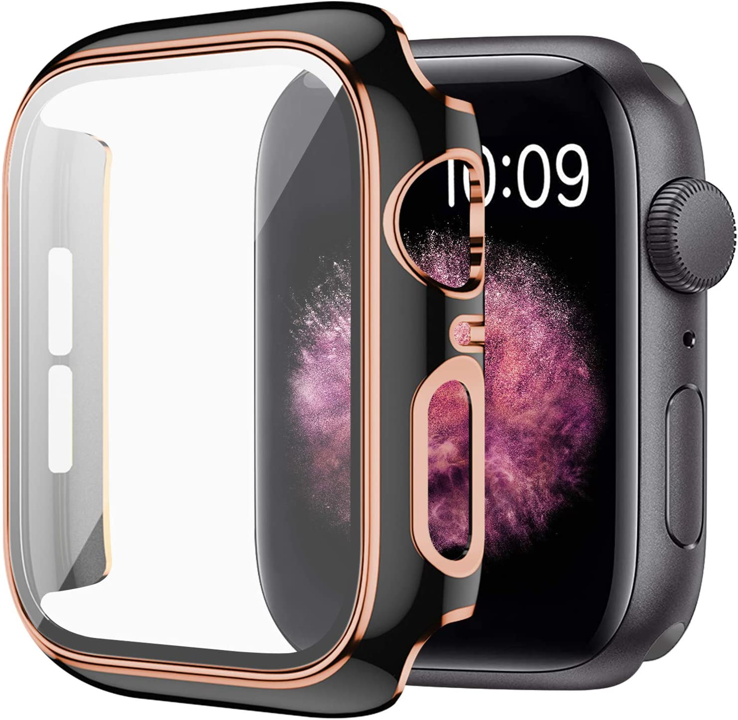 WETAL Hard Protective Cover Compatible with Apple Watch Case Series 6 / SE / Series 5 / Series 4 40mm 44mm with Built in HD Clear Tempered Glass Screen Protector (44mm Black)