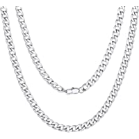"""ChainsPro Men Chunky Miami Cuban Chain Necklace, 6/9/14mm Width, 18"""" 20"""" 22"""" 24"""" 26"""" 28"""" 30"""" Length, Gold/Steel/Black Color (with Gift Box)"""