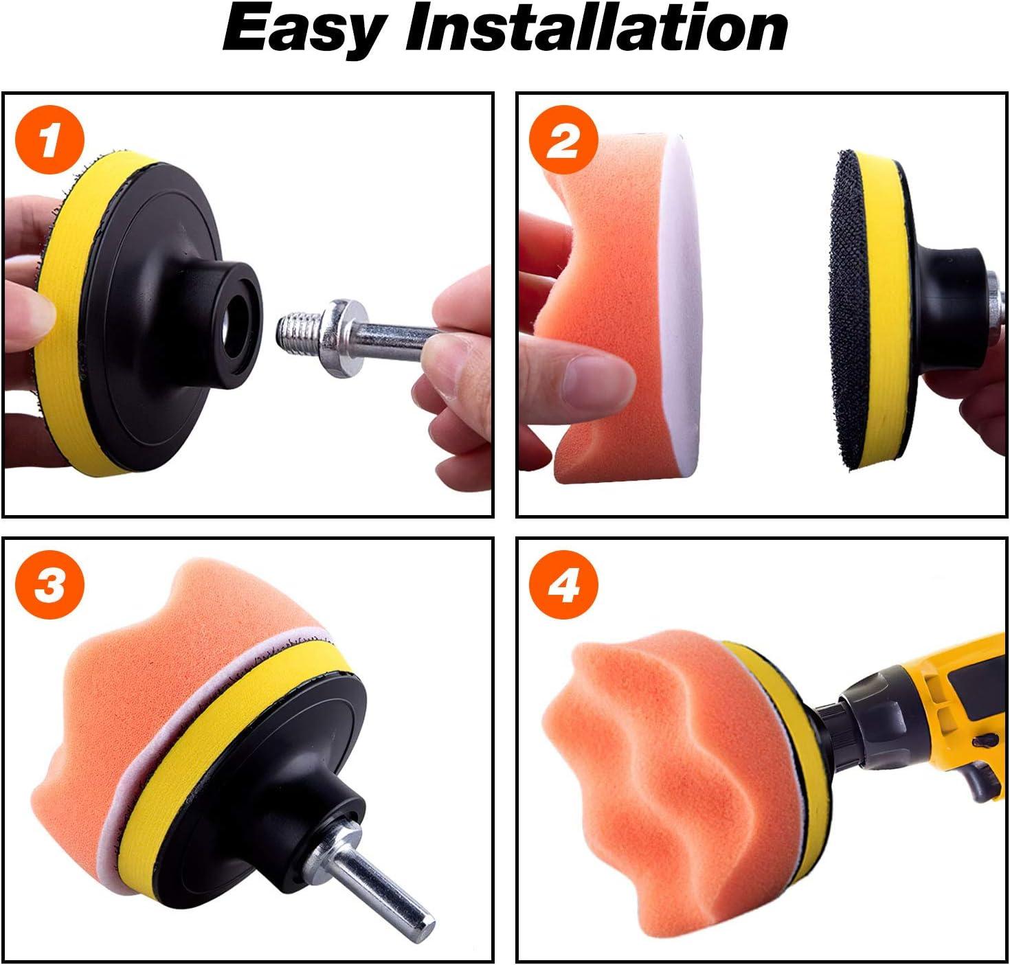 adaptador de taladro M14 para pulidora de autom/óviles 3 Inch+M10 Drill Kit de almohadillas de pulido de 31 piezas glaseado de sellado de pulido encerado almohadillas de pulido de espuma pulidora