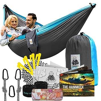 Camping Furniture Nylon Rope Tear-Proof Parachute Hammock/Blue Digital Printing Hammock/Outdoor Camping Swing Hammock