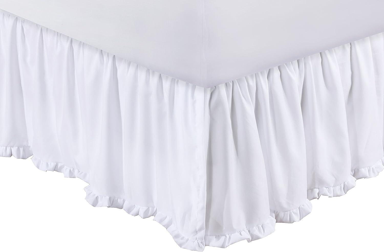 Greenland Home Sasha Bed Skirt, White Twin