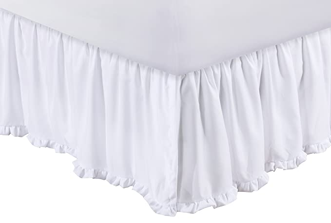 Greenland Home Sasha Bed Skirt, White Twin