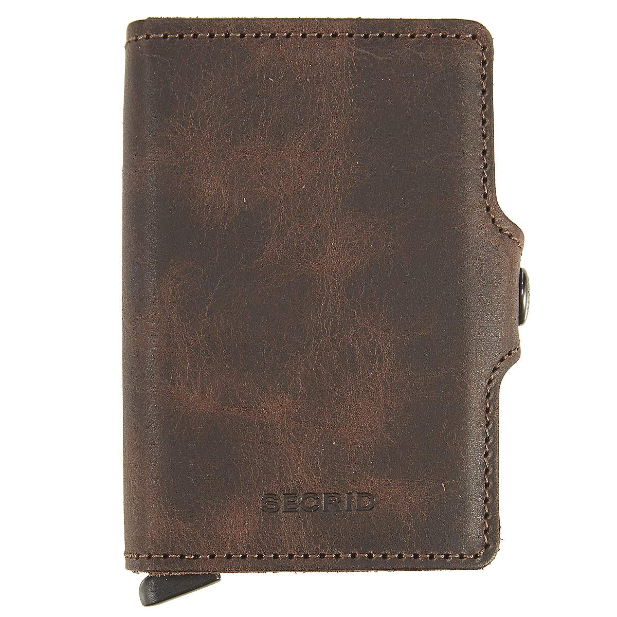 Secrid Twin Wallet, Vintage Chocolate, Genuine Leather with RFID Protecton, Holds up to 16 Cards
