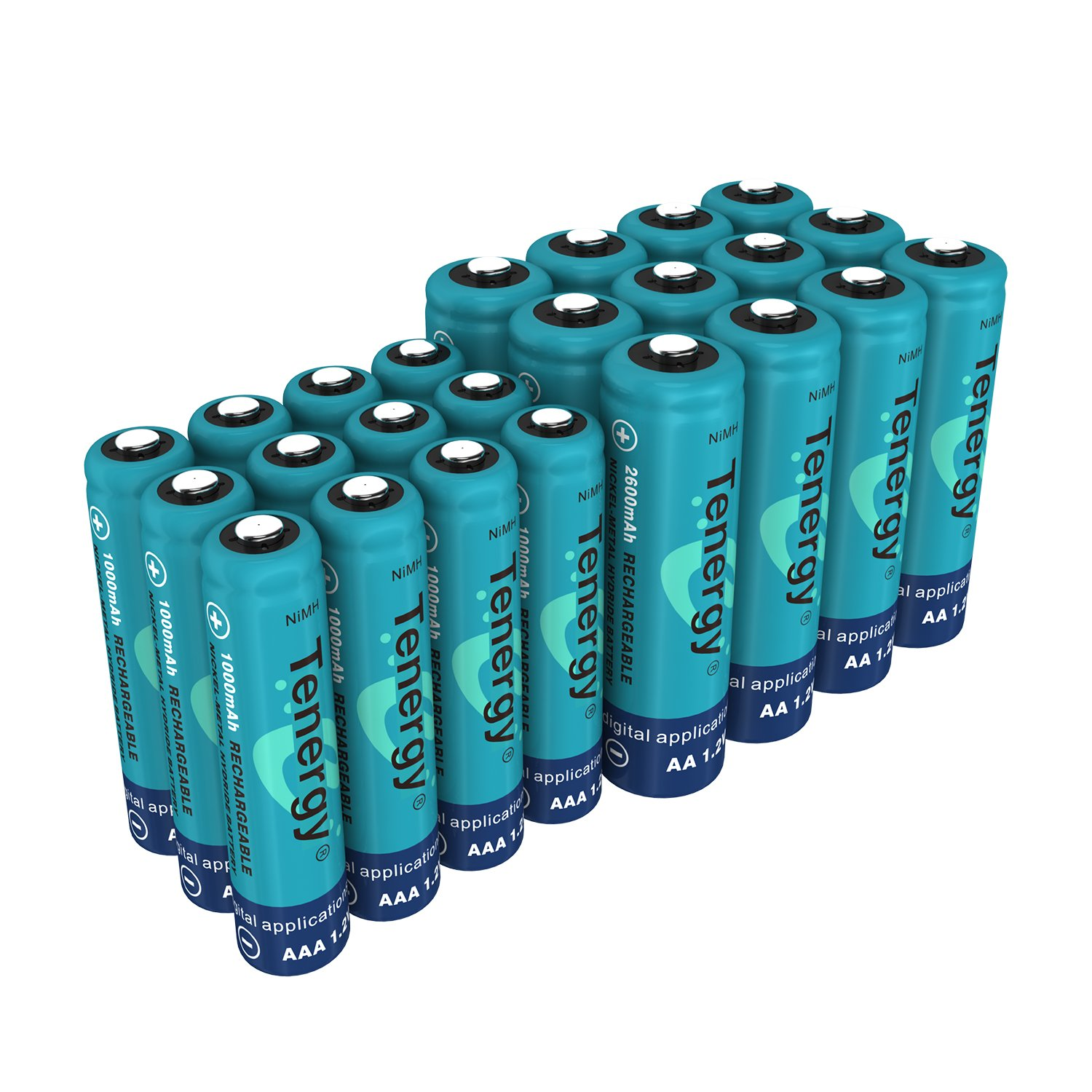 Tenergy High Drain AA and AAA Battery, 1.2V Rechargeable NiMH Batteries Combo, 12-Pack 2600mAh AA Cells and 12-Pack 1000mAH AAA Cell Batteries by Tenergy