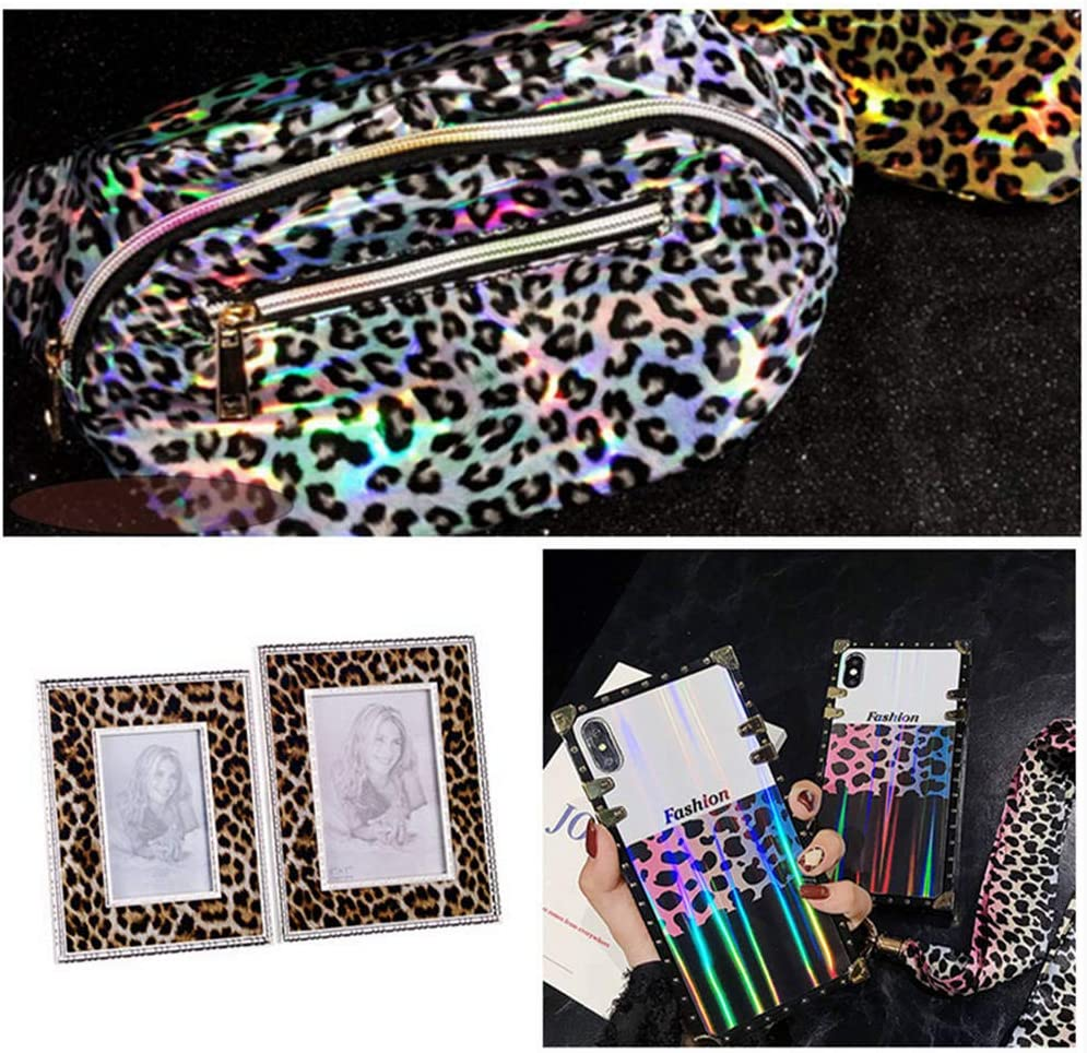 """5Pcs Pattens Mirrored Leopard PU Leather Fabric Sheets For Earrings Making Hair Bow and Crafts Leopard Printed Faux Leather Sheets 8/"""" x 12/"""""""