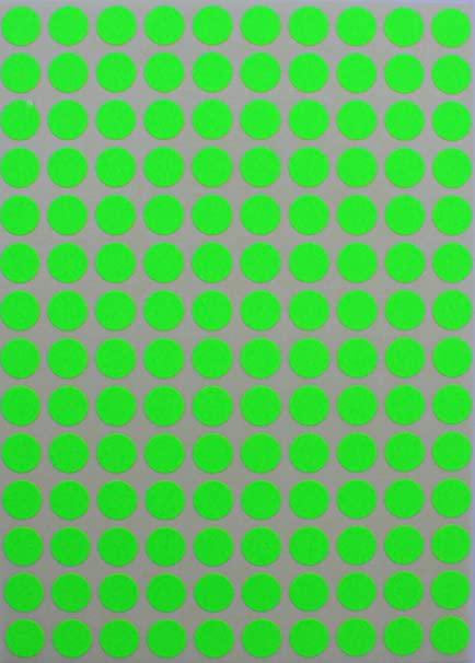 Round neon colour code labels 3 8 0 375 inches 10mm circle dot