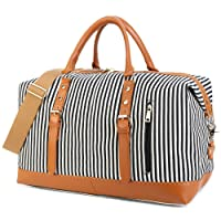 Weekend Travel Bag Ladies Women Duffle Tote Bags PU Leather Trim Canvas Overnight Bag