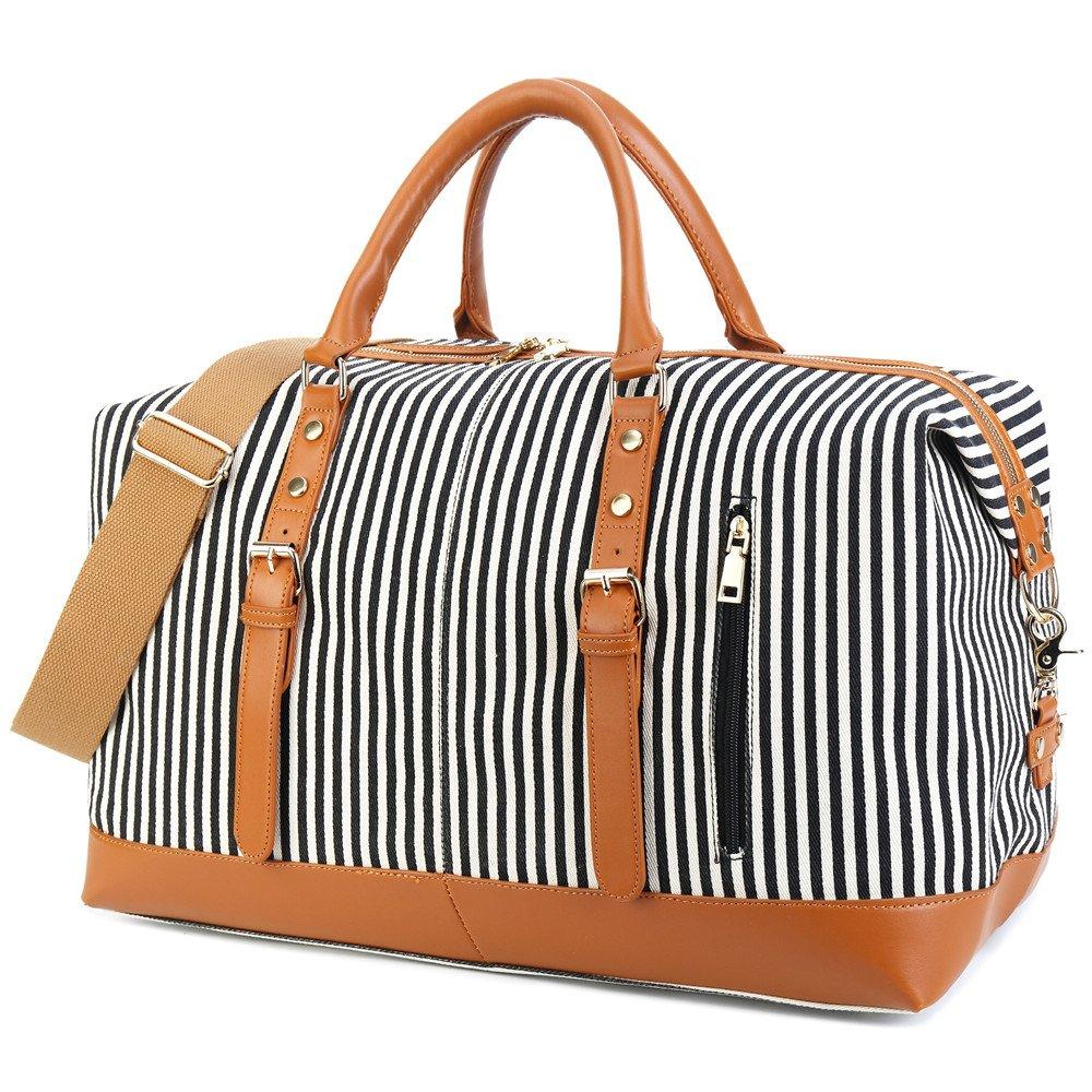 Weekend Travel Bag Ladies Women Duffle Tote Bags PU Leather Trim Canvas Overnight Bag Luggage (Black)