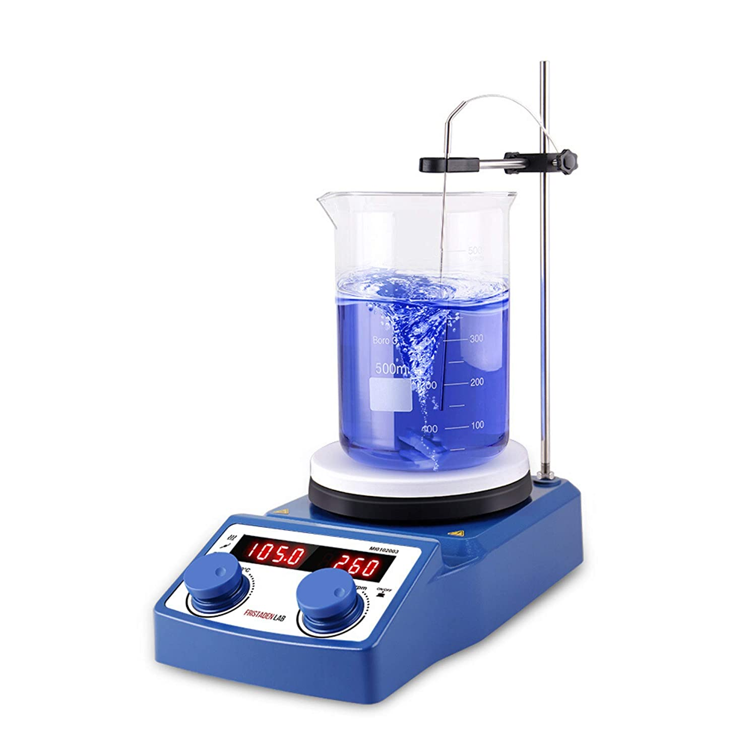 American Fristaden Lab Digital Magnetic Hot Plate Stirrer | LED Display with Temperature | Large 5L Ceramic Hot Plate with Magnetic Stirrer | 100-1500RPM | Temperature Probe | 2YR Warranty