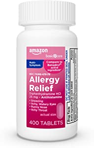 Amazon Basic Care Allergy Relief, Diphenhydramine HCl Tablets 25 mg, Antihistamine, 400 Count