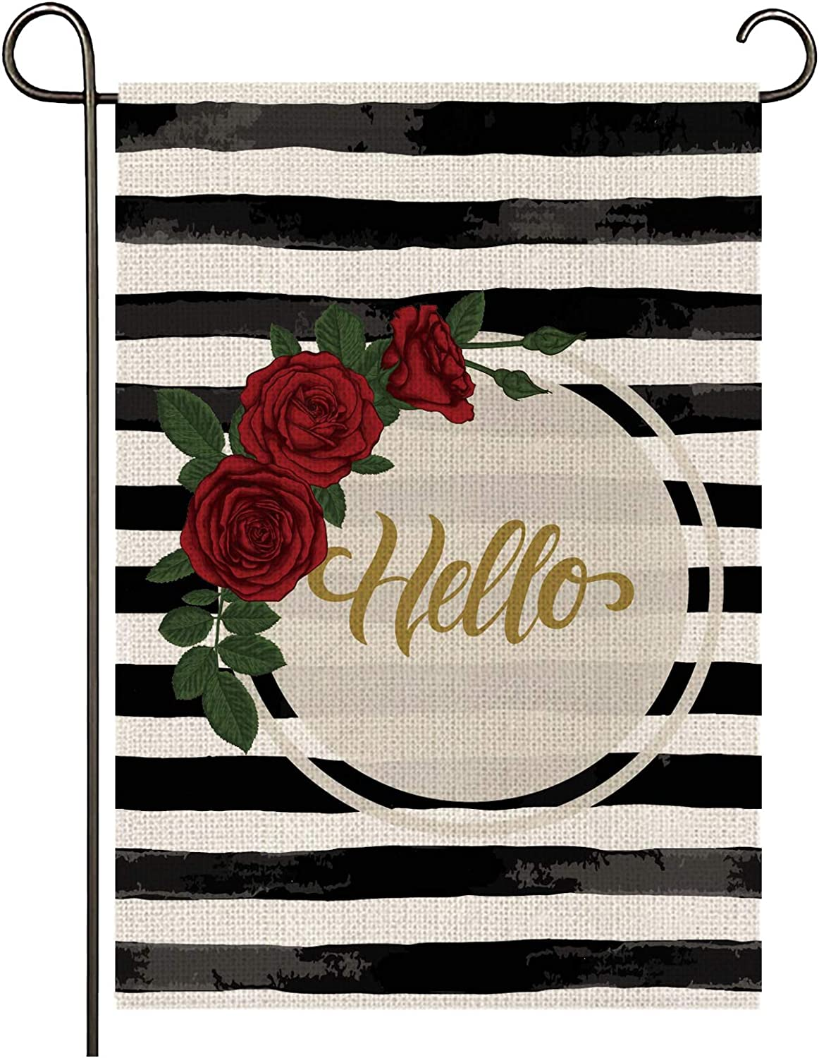 onetoze Roses Garden Flag Vertical Double Sided, 12.5X18inches Welcome Garden Flag, Premium Burlap Weather Proof for Yard Outdoor Decoration