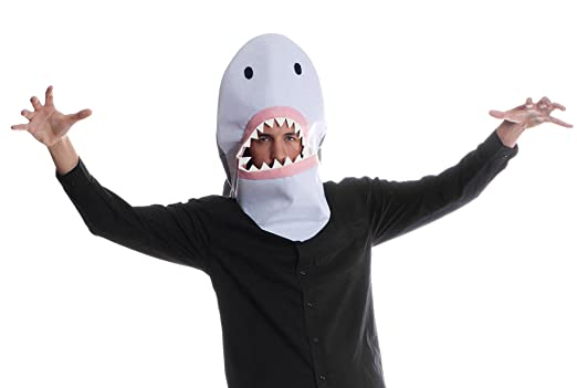 sharknado shark mask halloween costume hood designed to fit both kids and adults - Halloween Costume Shark