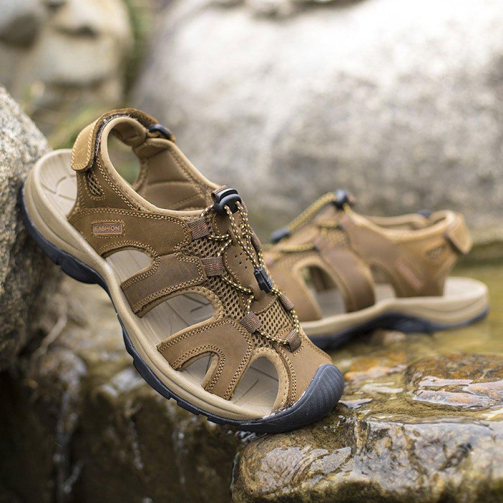 LEDLFIE Sandalen Im Freien Strand Schuhe Mode Ausschnitte Sandalen Ausschnitte Mode Breathable Herrenschuhe LightBraun 75749f