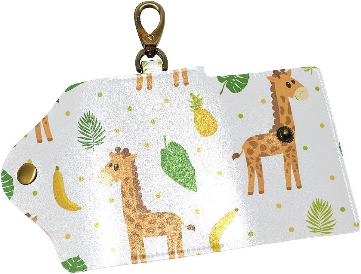 DEYYA Giraffe Leather Key Case Wallets Unisex Keychain Key Holder with 6 Hooks Snap Closure