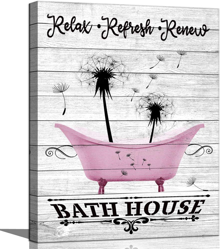Bathroom Wall Art Black and White Inspirational Quotes and Sayings Dandelion Art Prints Motivational Funny Gift for Farmhouse Kids Woman Rustic Bathroom Wall Décor Teen Relax Refresh Renew Pink