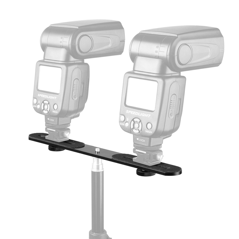 ChromLives 1//4 Dual Camera Mount Flash Bracket Extension Bar 10.6 Straight Flash Bracket Tripod Mount Bracket for DSLR Camera LED Light Flash Light Microphone and More