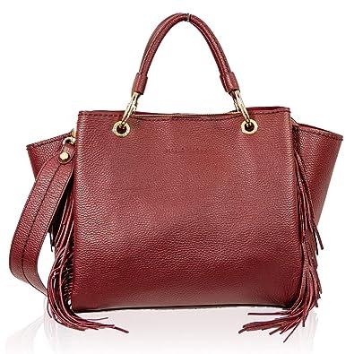 63e6e39dd7b7c VISONÀ Plinio Italienischer Designer - Marsala - Rote Handtasche aus Leder  mit Fransen
