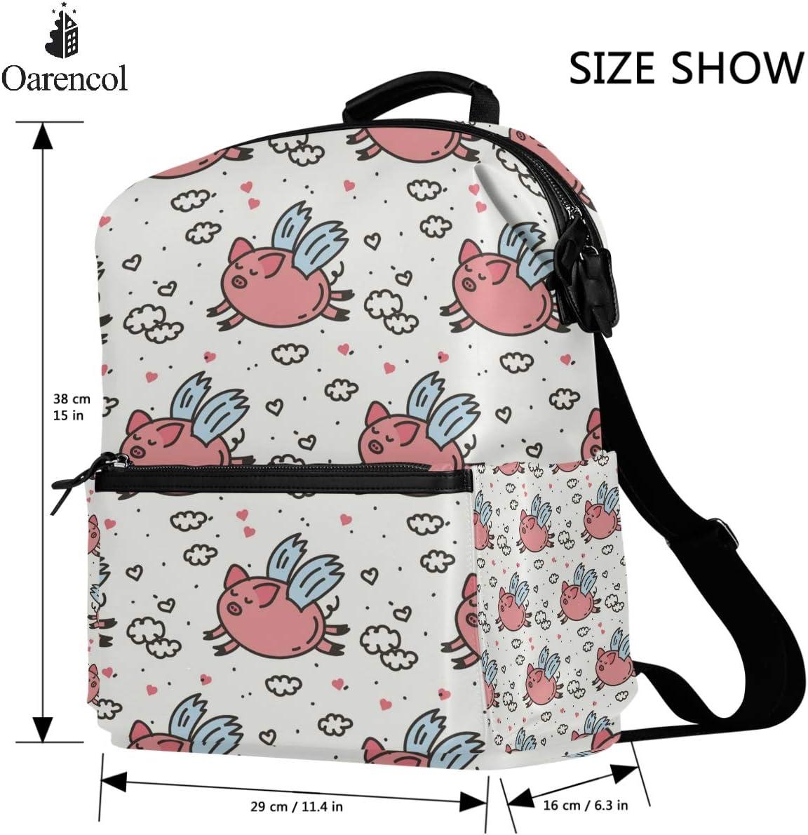 Oarencol Pink Fly Pig Polka Dot Cloud Backpack Cute Cartoon Animal Heart School Book Bag Travel Hiking Camping Laptop Daypack for Boys Girls Kids Teens