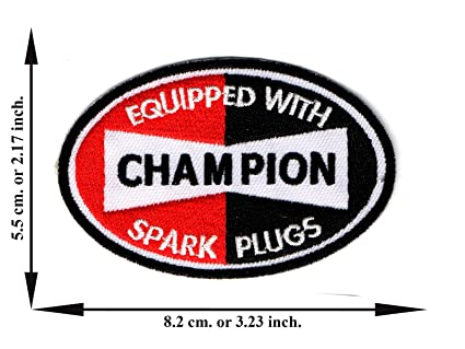 Amazon com : Champion Equipped with Spark Plugs Embroidered
