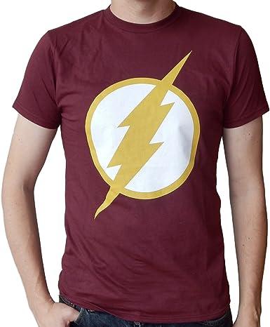 DC Comics The Flash Logo CW TV Show - Camiseta para Hombre, diseño con Logo de Color Granate