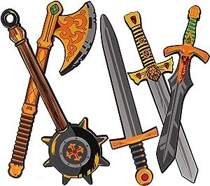 OUFOTAT 5 PCS Ninja Kids Weapons Toy Sword Axe Hammer Pretend Play Medieval Combat Warrior Knight Costume Accessories Golden Foam Swords for Boys Girls Toddlers