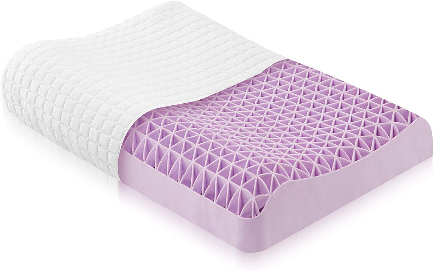 DAPU Purple Pillow Optimal Head Neck Support for Hot Sleepers 360/º Grid Hex Soft Responsive Cool Moisture-Wicking for Neck Pain