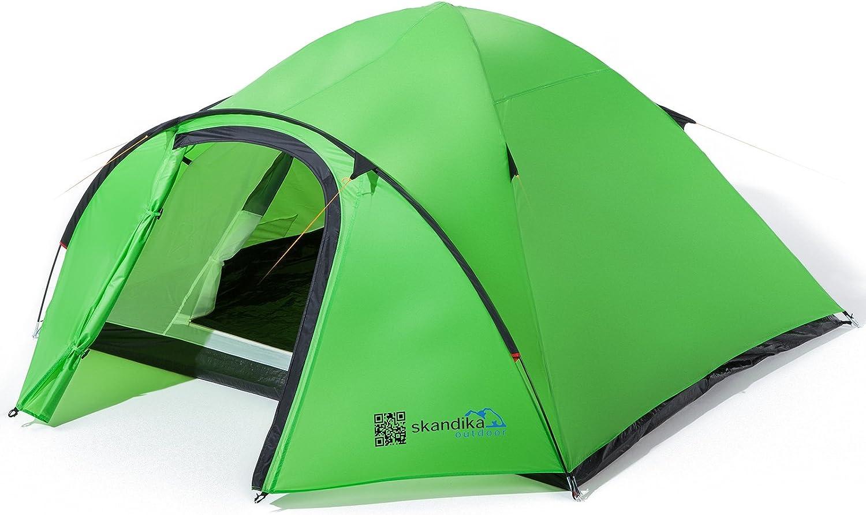skandika Larvik 4 Personen Zelt, Kuppelzelt für 4 Mann, Campingzelt mit Moskitonetz, Leicht Trekkingzelt wasserdicht, Zelt für Camping, Outdoor und