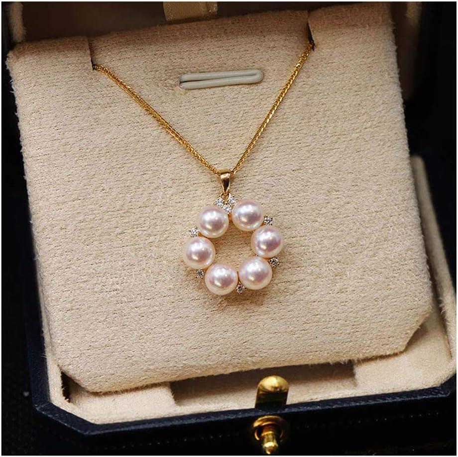 Blanco Perla Colgante Oro De 18 Quilates Delicado Agua De Mar Cultivada Akoya Perla Collar Cadena Ajustable para Mujeres Muchachas