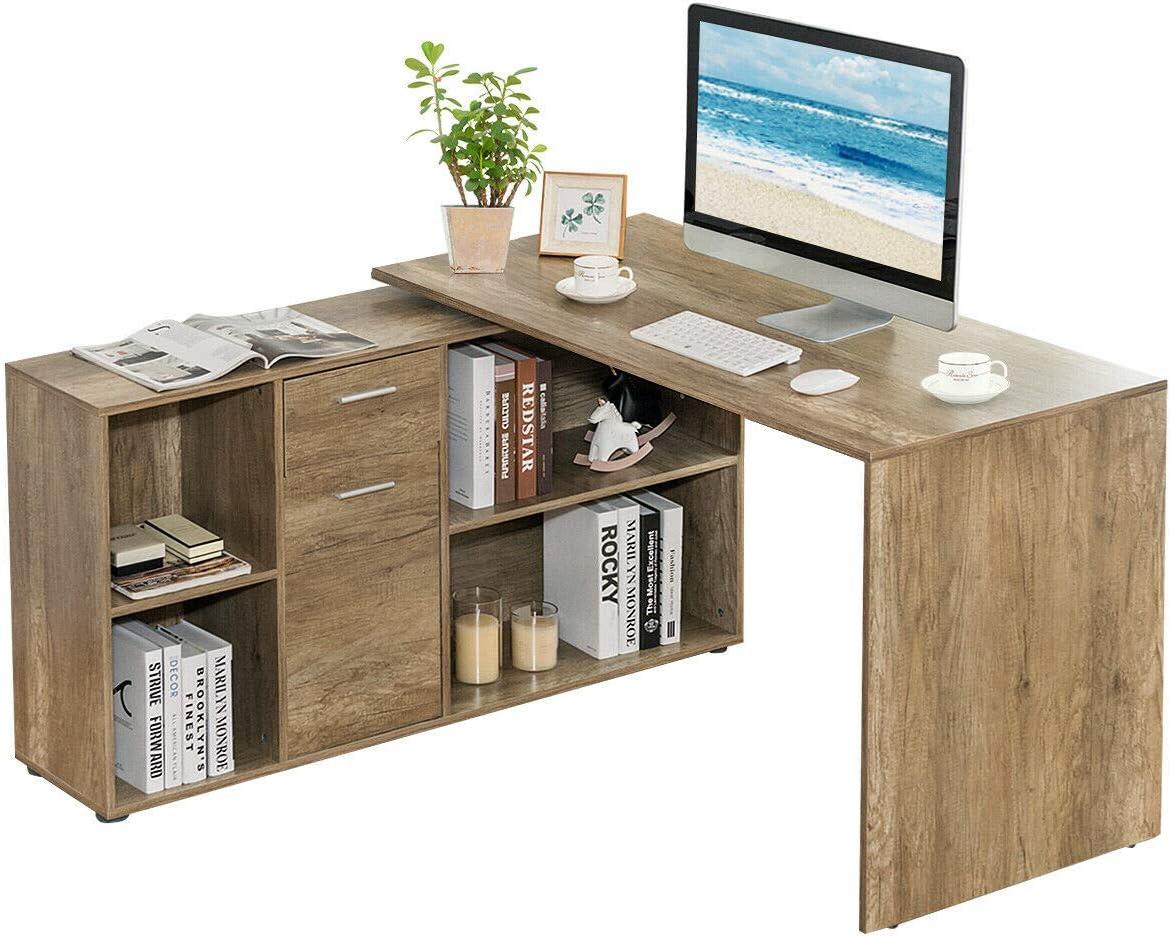 - Amazon.com: Tangkula Free Rotating L-Shaped Corner Desk, Home