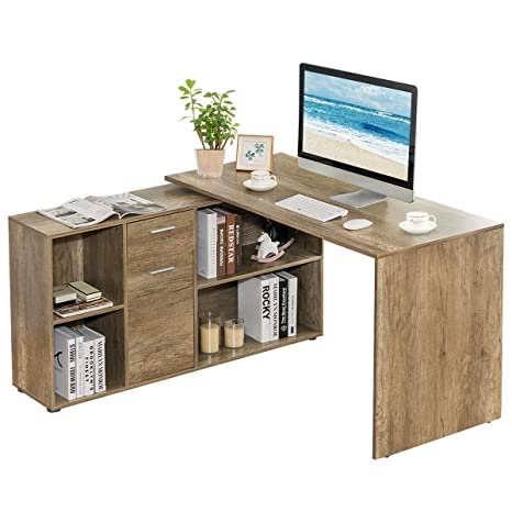 Tangkula Free Rotating L-Shaped Corner Desk, Home Office Desk Wood Computer  Workstation, Left or Right Installed Desk, Space Saving Computer Desk with  ...