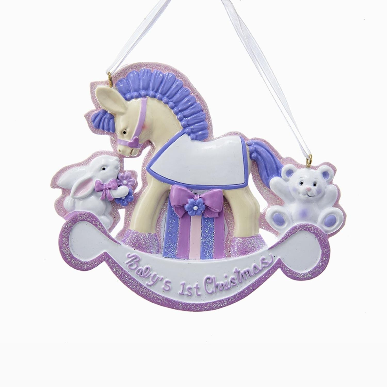 Pack of 12 Pink Girls Rocking Horse ''Baby's 1st Christmas'' Ornaments for Personalization 3.75''