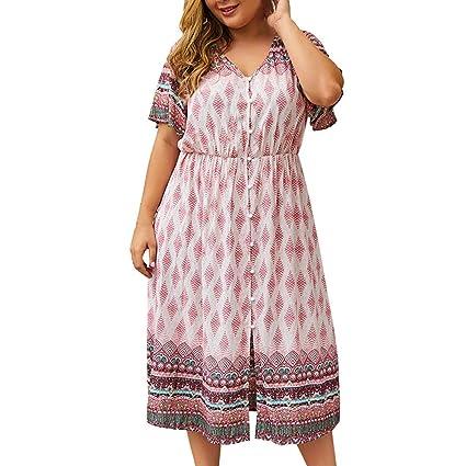 7fde226ee602b9 Amazon.com: Women Tunic Shift Midi Dress | Ladies Fashion Plus Size  Bohemian Print V Neck Knee Length T Shirts Dress | Casual Button Down  Shorts Sleeve ...