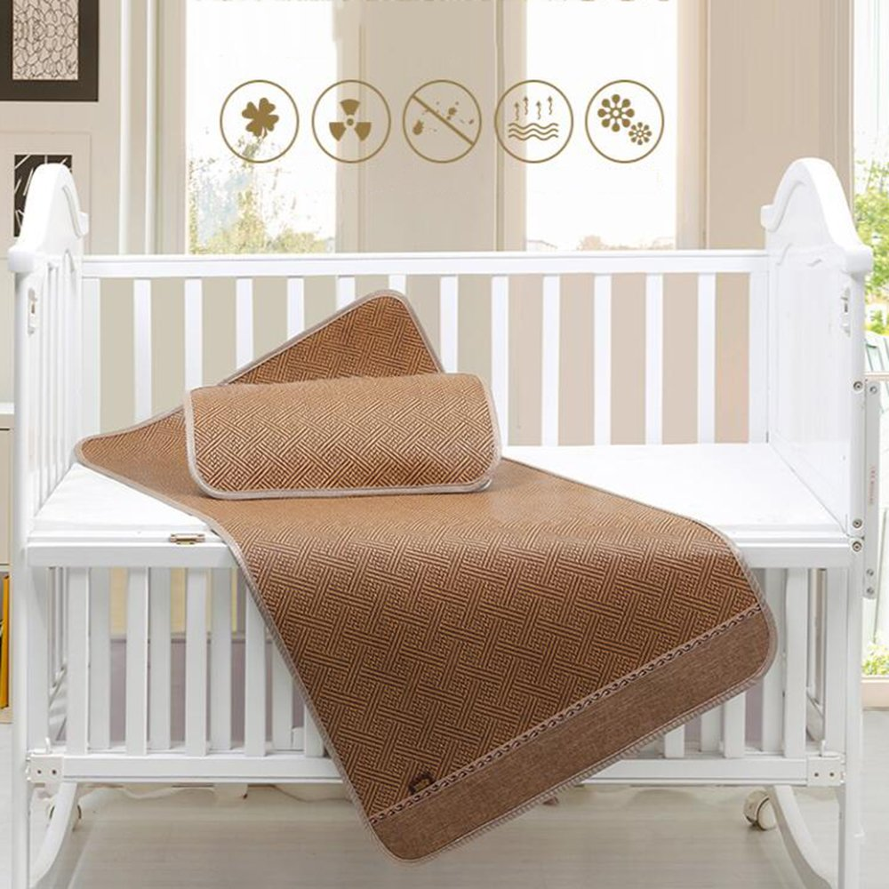 Zzaini Rattan Summer sleeping mat, Cooling Topper pad Ice silk mat Folding Non-slip Double sided-A 160x80cm(63x31inch) by Zzaini (Image #1)