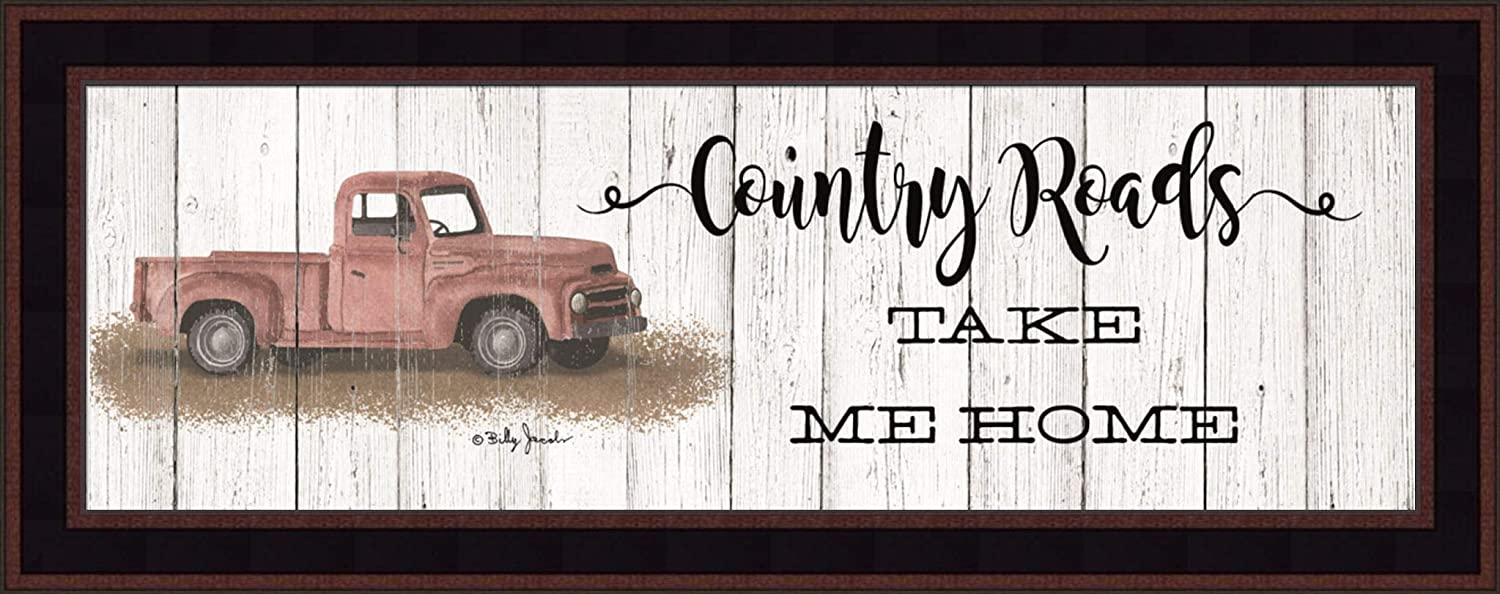 Country Roads by Billy Jacobs 11x27 Take Me Home Vintage Red Truck Classic Car Rustic Weathered White Sign Framed Art Print Picture