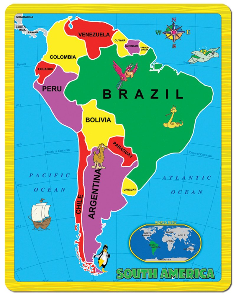 Amazon.com: Continent Puzzle - South America (15 Piece): Toys & Games