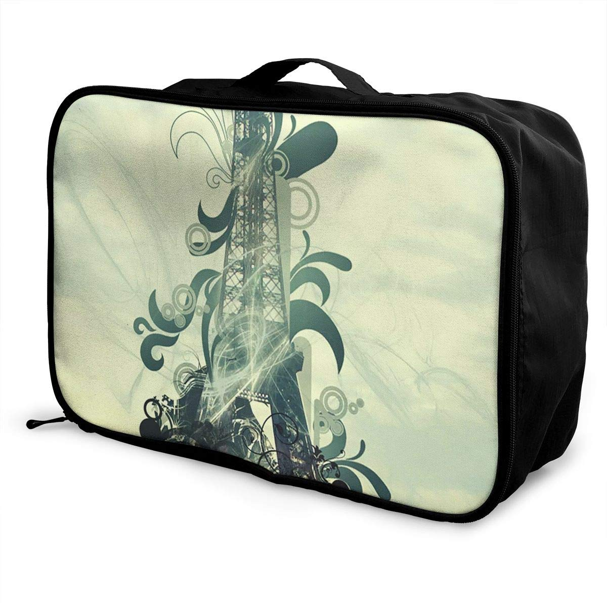 Travel Luggage Duffle Bag Lightweight Portable Handbag Eiffel Tower Floral Pattern Large Capacity Waterproof Foldable Storage Tote
