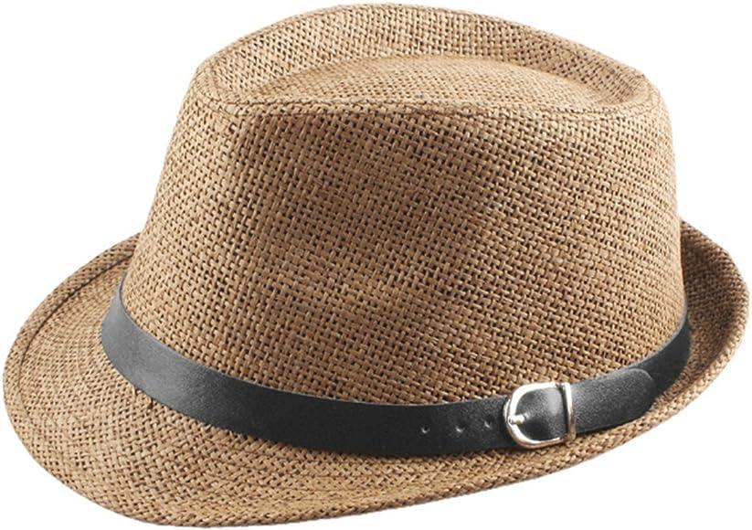 4fbef3d5ac4f72 Samtree Fedora Hats for Women Men,Short Brim Belt Braid Straw Jazz Cap(Khaki