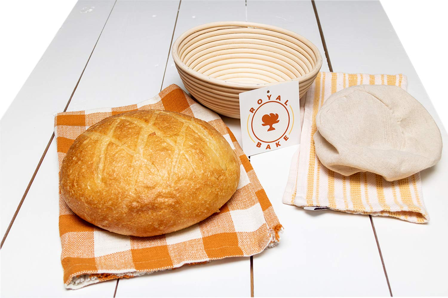 Round Baking Bread Basket Gift For Professional and Home Bakers RoyalBake Banneton Bread Proofing Basket Premium 9 Inch Sourdough Bowl and Cloth Liner