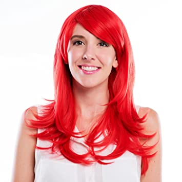 Amazon.com   MelodySusie Cosplay Red Curly Wig - High Density Synthetic Hair  Weave Full Wigs for Women Party Wigs (Red)   Beauty 0a6073297f
