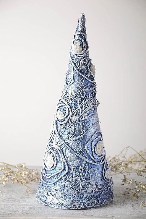 Sapin artificiel fait main Arbre decoratif bleu papier mache